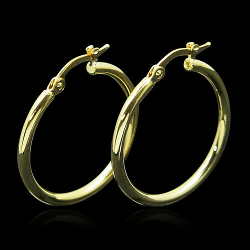 JCK Vegas Collection 9K Y Gold Hoop Earrings (with Clasp)