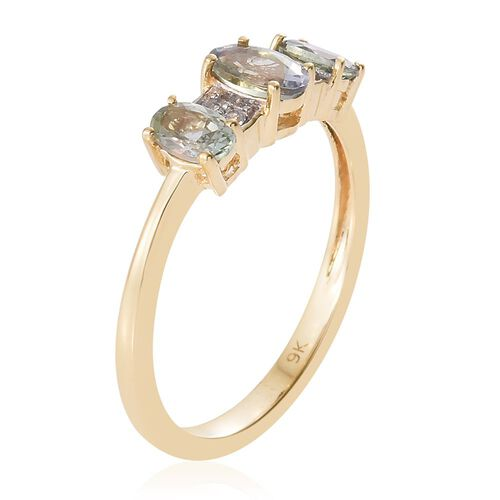 9K Yellow Gold 1.00 Ct AA Green Tanzanite Ring with Natural Cambodian Zircon