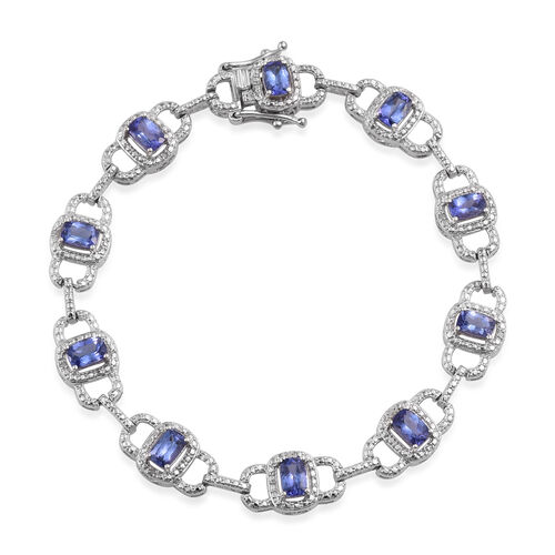 Tanzanite (Cush), Diamond Bracelet (Size 8.25) in Platinum Overlay Sterling Silver 5.986 Ct.