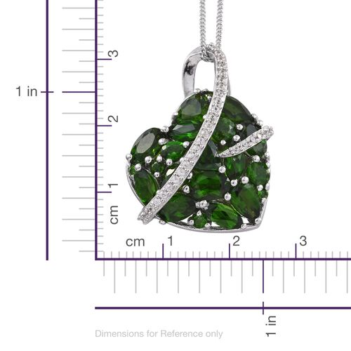 Russian Diopside (Ovl), Natural Cambodian Zircon Pendant with Chain in Platinum Overlay Sterling Silver 6.500 Ct. Silver wt 5.18 Gms.