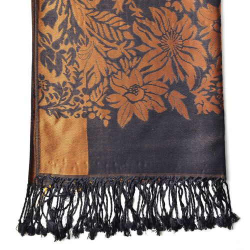 Black and Copper Colour Knitted Floral Pattern Scarf with Tassels (Size 170X70 Cm)