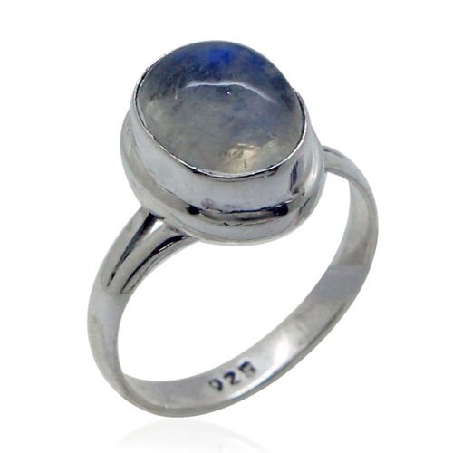 Royal Bali Collection Rainbow Moonstone (Ovl) Solitaire Ring in Sterling Silver 3.500 Ct.