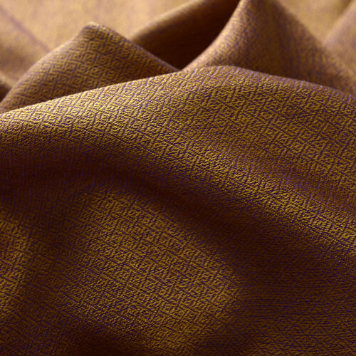 Mulberry Silk, Merino Wool  Blend (50%) Handloomed Purple and Bronze Colour Reversible Motif Scarf (Size 190x70 Cm)