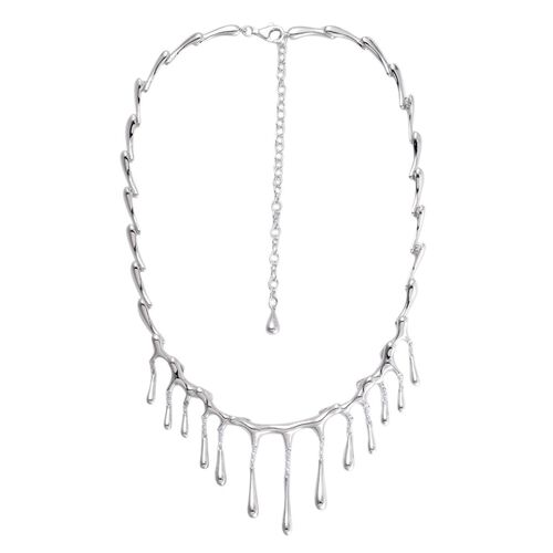 LucyQ Multi Drip Necklace (Size 16 with 3 inch Extender) in Rhodium Plated Sterling Silver 43.00 Gms.
