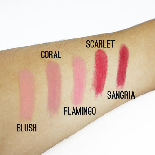 COUGAR- Mineral Lip Collection - Blush, Coral, Scarlet, Flamingo and Sangria.