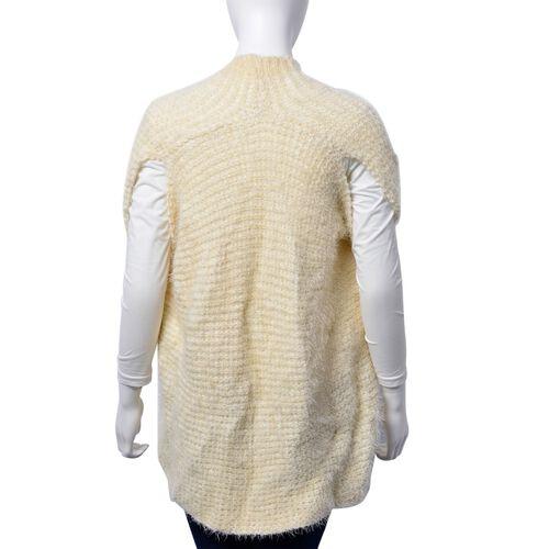 Italian Designer Inspired-Cream and White Colour Sleeveless Ruana (Free Size)