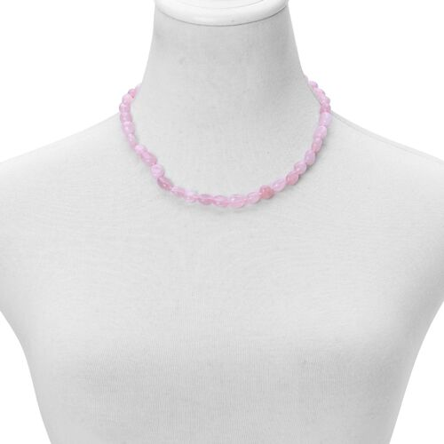 Rose Quartz Necklace (Size 18 with 2 inch Extender) in Rhodium Plated Sterling Silver 140.000 Ct.