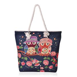 Navy with Multi Colour Owl Pattern Tote Bag (Size 44x39x33x9.5 Cm)