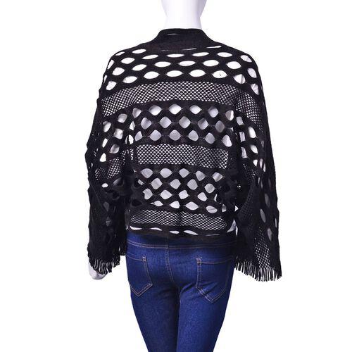 Designer Inspired Black Colour Poncho (Size 130x25 Cm)
