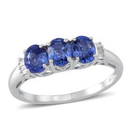 9K White Gold AA Ceylon Blue Sapphire (Ovl), Diamond Ring 1.500 Ct.