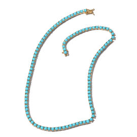 Limited Edition - AAA Arizona Sleeping Beauty Turquoise (Rnd) Necklace (Size 18) in 14K Gold Overlay Sterling Silver 27.750 Ct. 106 Sleeping Beauty Turquoise in Each Necklace Silver wt 24.03 Gms.
