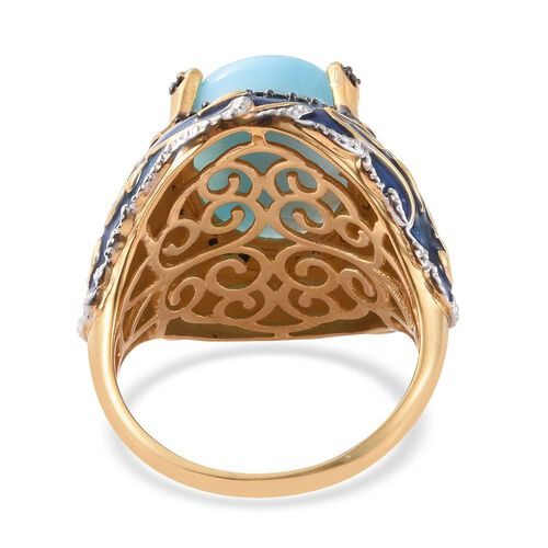 GP Larimar (Ovl 10.43 Ct), Boi Ploi Black Spinel and Kanchanaburi Blue Sapphire Filigree Enameled Ring in 14K Gold Overlay Sterling Silver 10.750 Ct. Silver wt 9.90 Gms.