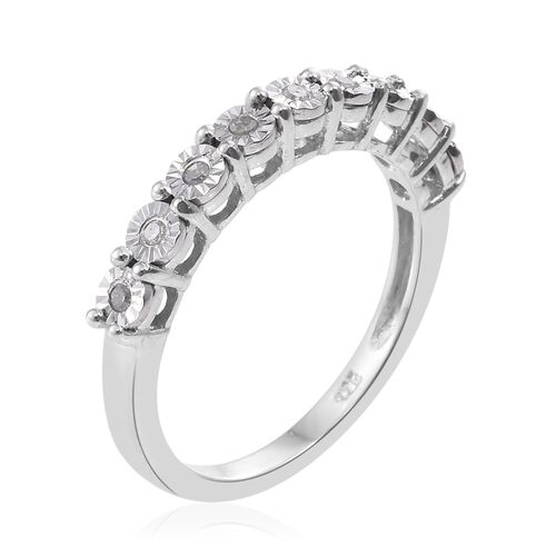Diamond Silver Stacker Ring in Platinum Overlay
