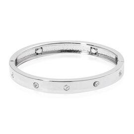 Designer Inspired - White Austrian Crystal Bangle (Size 6.5) in Silver Tone