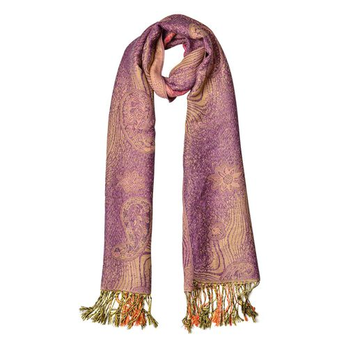Paisley and Water Wave Pattern Purple and Pink Colour Scarf (Size 170x70 Cm)