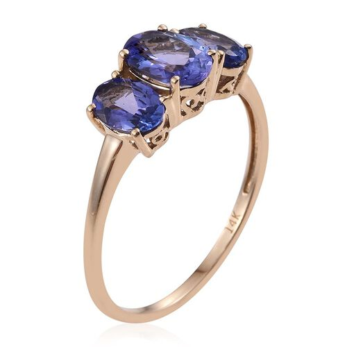 14K Y Gold Tanzanite (Ovl 0.85 Ct) 3 Stone Ring 2.150 Ct.