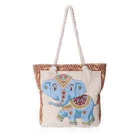 Cheerful Blue Elephant Pattern Large Tote Bag (Size 43x37x32.5x11 Cm)