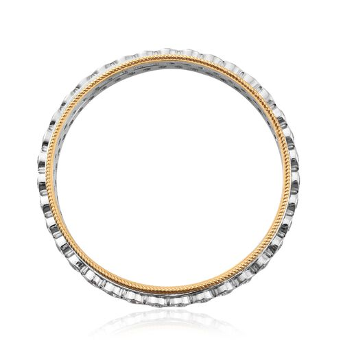 J Francis - Platinum and Yellow Gold Overlay Sterling Silver SPINNER Bangle (Size 8) Made with SWAROVSKI ZIRCONIA, Silver wt 37.52 Gms.