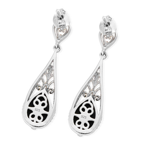 Natural Spectrolite (Pear) Drop Earrings (with Push Back) in Platinum and Yellow Gold Overlay Sterling Silver 3.750 Ct.