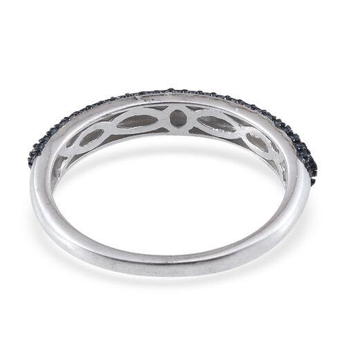 Set of 3 - Blue Diamond (Rnd), White Diamond and Yellow Diamond Ring in ION Plated Platinum Bond