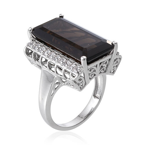 Brazilian Smoky Quartz (Oct 21.15 Ct), White Topaz Ring in Platinum Overlay Sterling Silver 22.000 Ct.