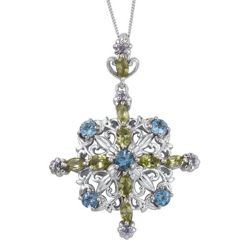 Stefy Electric Swiss Blue Topaz (Rnd), Hebei Peridot, Tanzanite and Pink Sapphire Pendant With Chain in Platinum Overlay Sterling Silver 3.010 Ct.