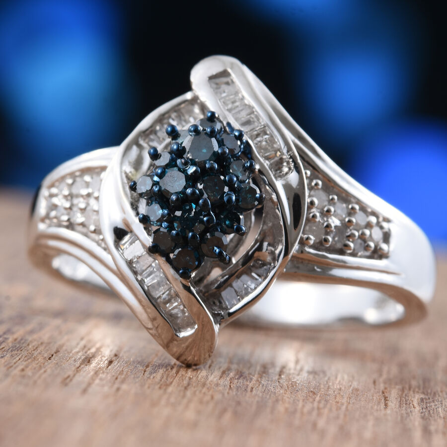 Blue Diamond Platinum: Blue And White Diamond Platinum Overlay Sterling Silver