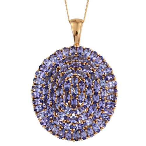 Tanzanite (Ovl) Cluster Pendant With Chain in 14K Gold Overlay Sterling Silver 18.250 Ct.