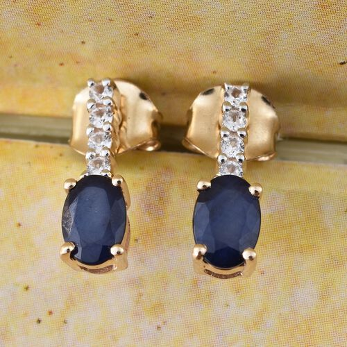 9K Yellow Gold 1.20 Ct AA Kanchanaburi Blue Sapphire Earrings with Natural Cambodian Zircon (with Push Back)