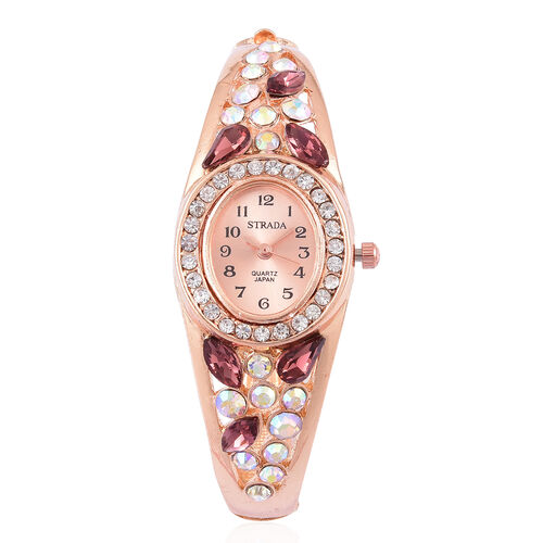 Designer Inspired - STRADA Japanese Movement Sunshine Dial Bangle Watch in Rose Gold Tone with White Austrian Crystal, Simulated AB and Purple Colour Diamond