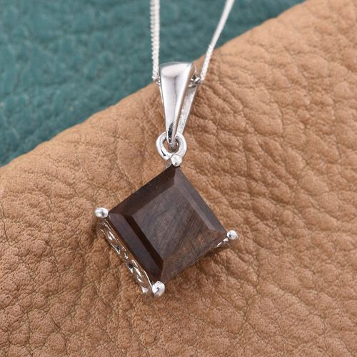 Natural Zawadi Golden Sheen Sapphire (Sqr) Solitaire Pendant With Chain in Platinum Overlay Sterling Silver 3.250 Ct.