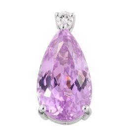 ILIANA 18K White Gold 11.97 Ct AAA Kunzite Pear Pendant with Diamond SI G-H
