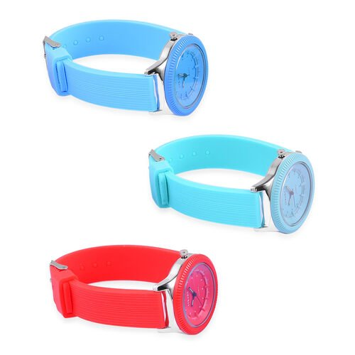 Set of 3 - STRADA Japanese Movement Red, Turquoise and Blue Colour Watch in Silver Tone with Silicone Strap