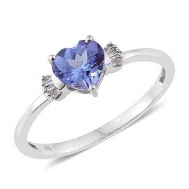 9K W Gold Tanzanite (Hrt 1.00 Ct), Diamond Ring 1.070 Ct.