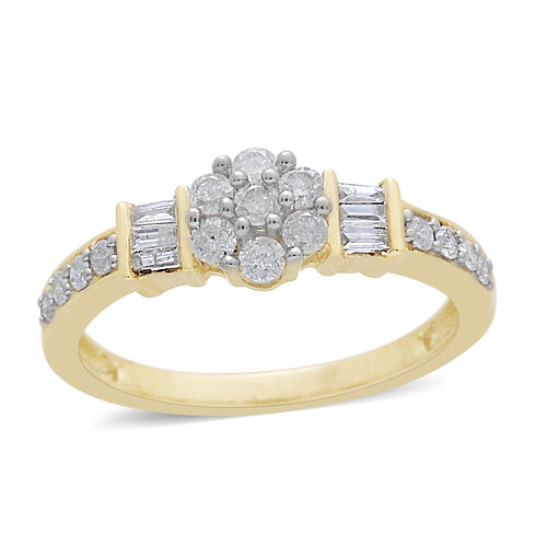 9K Yellow Gold SGL Certified Diamond (Rnd) (I3 G-H) Floral Ring 0.500 Ct.