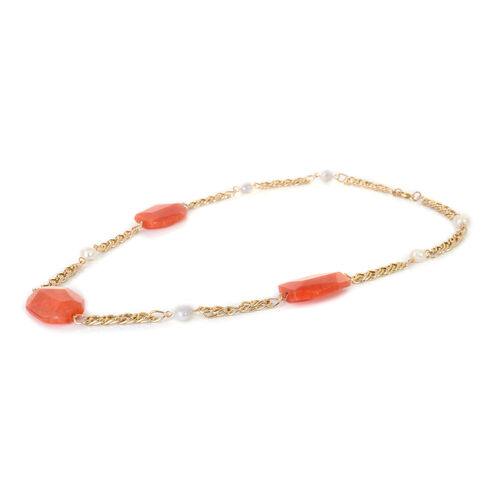 Enhanced Quartzite and Fresh Water White Pearl Opera Necklace (Size 26) in Gold Tone