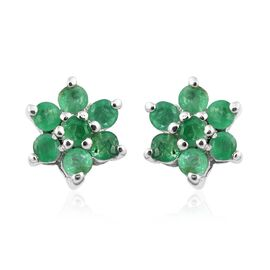 Kagem Zambian Emerald Floral Stud Earrings (with Push Back) in Platinum Plated Silver 0.40 Ct
