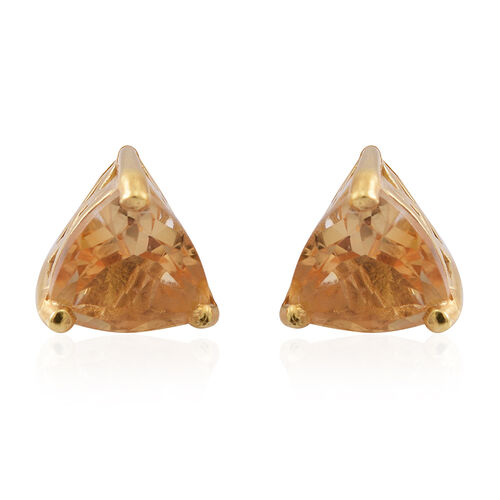 Citrine (Trl) Stud Earrings (with Push Back) in 14K Gold Overlay Sterling Silver 2.000 Ct.
