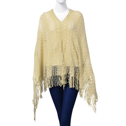 Cream Colour Poncho with Tassels (Size 65 Cm)