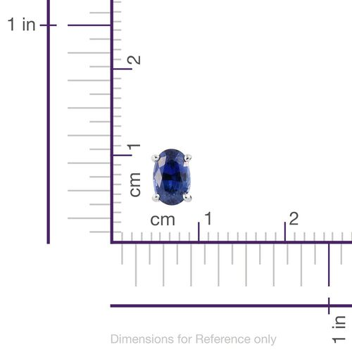 RHAPSODY 950 Platinum AAAA Ceylon Blue Sapphire (Ovl) Stud Earrings (with Screw Back) 1.250 Ct.