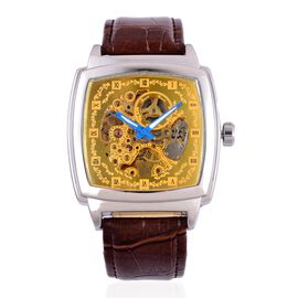 GENOA Automatic Skeleton Golden Dial Water Resistant Watch in Silver Tone with Stainless Steel Back and Chocolate Colour Strap