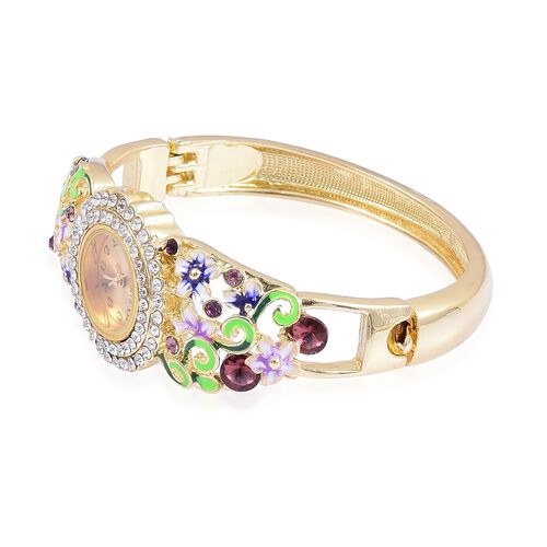 STRADA Japanese Movement Golden Sunshine Dial with Multi Colour Austrian Crystal Purple Colour Enameled Floral Design Bangle Watch in Yellow Gold Tone with Stainless Steel Back