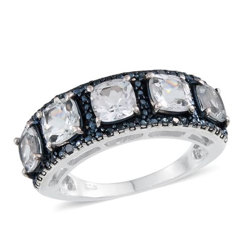 Espirito Santo Aquamarine (Cush), Blue Diamond Ring in Platinum Overlay Sterling Silver 2.300 Ct.