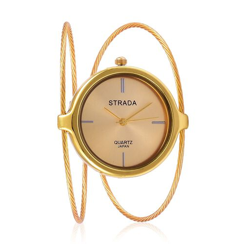 STRADA Japanese Movement Water Resistant Gold Tone Bangle Watch