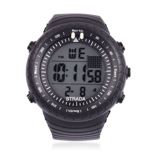 STRADA Electronic Movement LED Display Watch with Stainless Steel Back and Black Silicone Strap