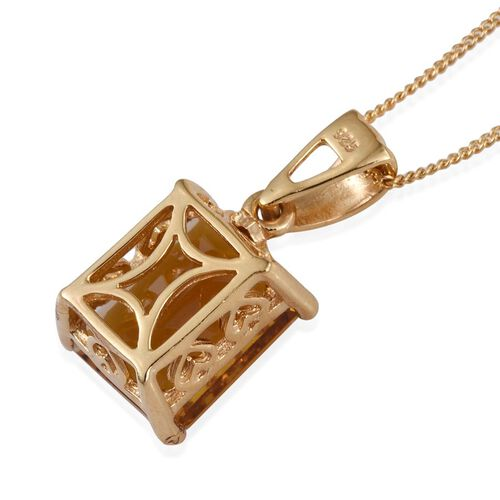 Marialite (Oct) Solitaire Pendant With Chain in 14K Gold Overlay Sterling Silver 4.000 Ct.