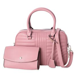 Set of 2 - Pink Colour Handbag with Removable Shoulder Strap (Size 29x21x12 Cm) and Clutch (Size 18x11.5x4 Cm)