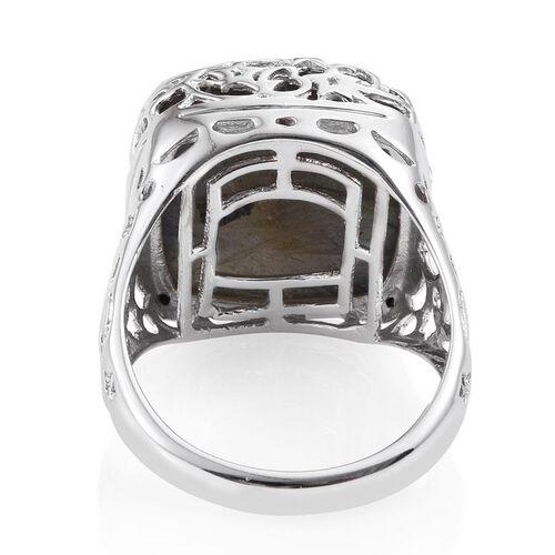 GP Labradorite (Cush 26.98 Ct), Kanchanaburi Blue Sapphire Ring in Platinum Overlay Sterling Silver 27.000 Ct.