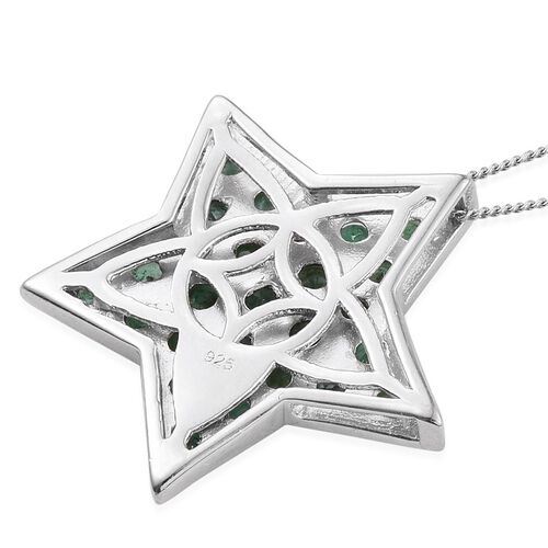 Kagem Zambian Emerald (Rnd) Star Pendant With Chain in Platinum Overlay Sterling Silver 3.000 Ct.
