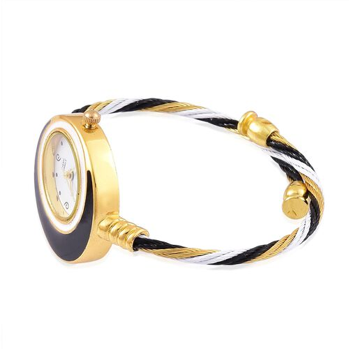 STRADA Japanese Movement White Dial Water Resistant Black Colour Bangle Watch in Gold Tone with Stainless Steel Back